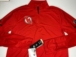 $75 S Adidas New Jersey Devils NHL 1/4 Zip Polyester Long Sl