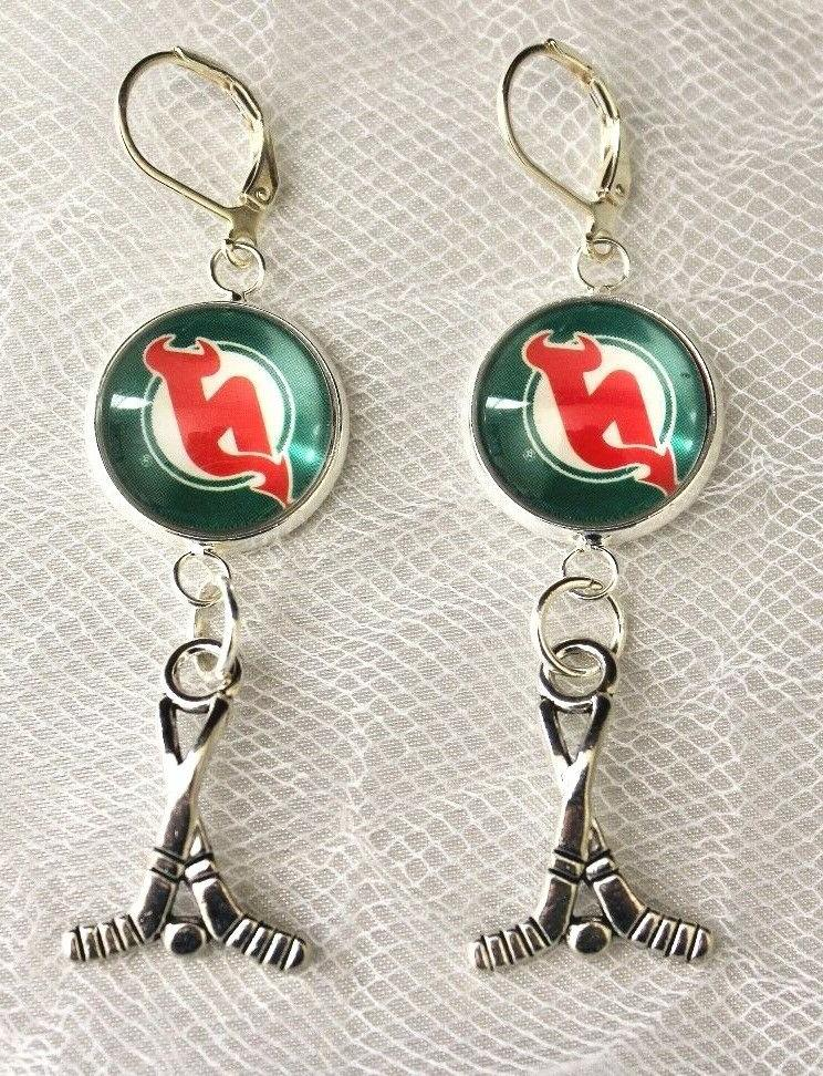 new jersey devils earrings with hockey charm