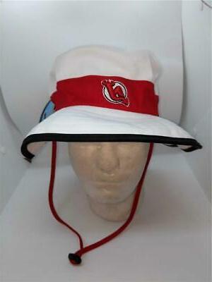 New Jersey Devils Mens Size S/M-L/XL White Bucket Cap Hat