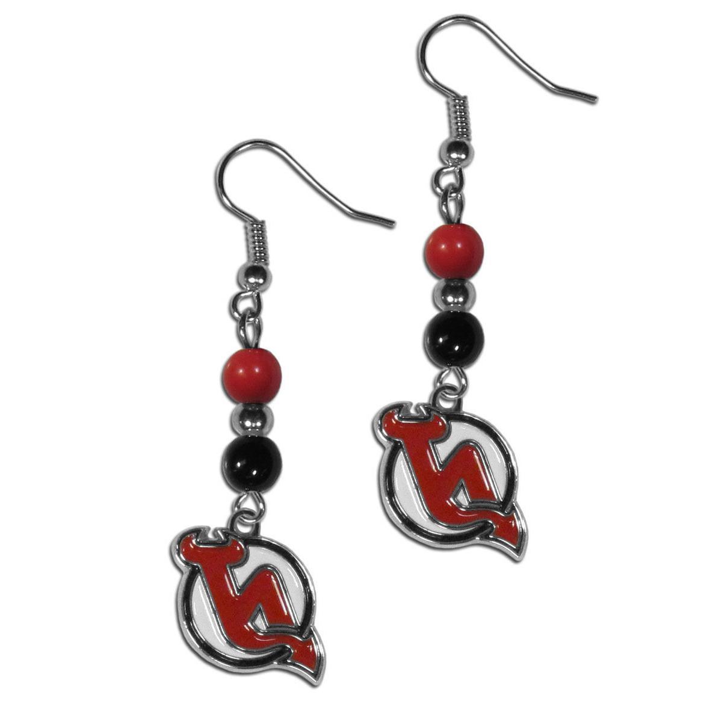 nhl new jersey devils bead dangle earrings