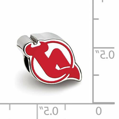 Sterling Silver LogoArt New Jersey Devils Logo Bead