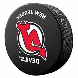 New Jersey Devils Basic Logo Souvenir Hockey Puck By Sher-Wo