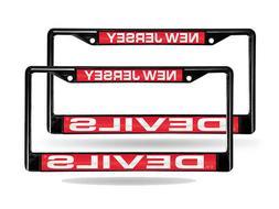 New Jersey Devils Black Metal  Laser License Plate Frame Set