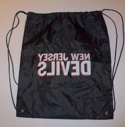 "New Jersey Devils Black Nylon Drawstring Bag 18""x15"" New"