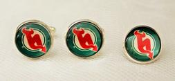 New Jersey Devils Cufflink and Tie Tack Set Upcycled from NH