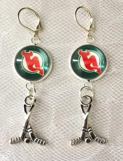 New Jersey Devils Earrings with Hockey Charm made from Hocke