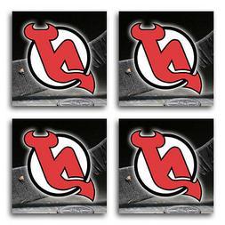 new jersey devils hockey rubber square coaster