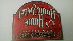 NEW JERSEY DEVILS  HOME SWEET HOME WOOD SIGN NHL PLAQUE
