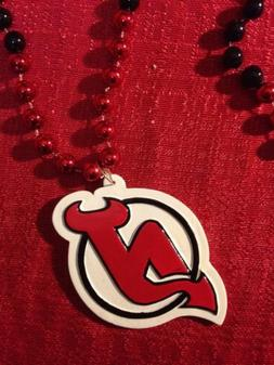 New Jersey Devils Medallion Pendant Charm, Colored Red & Bla