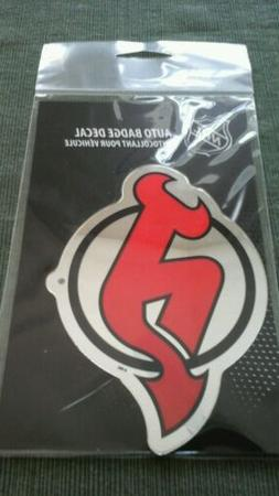 """NEW JERSEY DEVILS MIRRORED AUTO BADGE CAR EMBLEM DECAL 3""""×5"""