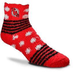 New Jersey Devils Hockey Homegator Red & White Fuzzy Socks