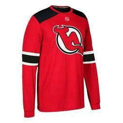 New Jersey Devils NHL Adidas Men's Red Long Sleeve Replica J