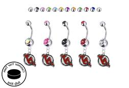 New Jersey Devils Silver Belly Button Navel Ring - Customize