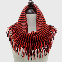 New Jersey Devils Themed  Black/Red Tubular  Scarf With Frin