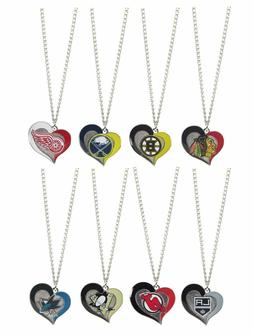 NHL Swirl Heart Team Necklace - Pick Your Team