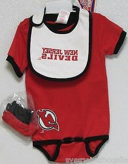 NWT NHL ONESIE / BIB / BOOTY SET - NEW JERSEYS DEVILS 24 MON