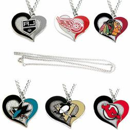 swirl heart necklace charm NHL PICK YOUR TEAM